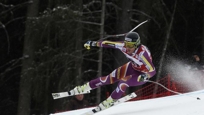 Jansrud of Norway takes a curve during the men's World Cup Downhill skiing race in Santa Caterina