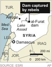 Map locates al-Furat dam in Syria