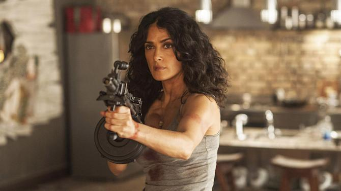"This photo released by courtesy of Radius-TWC shows Salma Hayek in a scene from the film, ""Everly."" (AP Photo/Radius-TWC)"