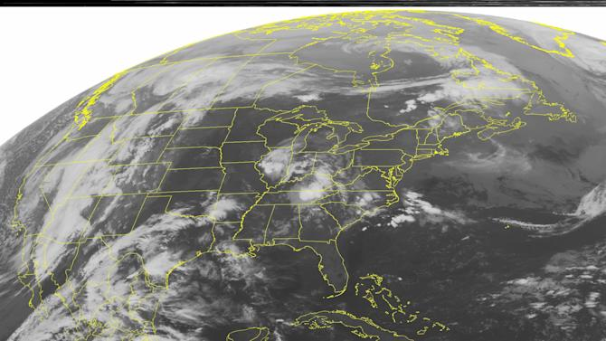 This NOAA satellite image taken Sunday, March 18, 2012 at 1:45 a.m. EDT shows clouds cover parts of the Eastern US and Southern Plains as warm and humid conditions allow for thunderstorms to develop.  Flow from the south pulls ample moisture and warm air in from the Gulf of Mexico.  This produces periods of severe thunderstorms, in addition to maintaining unseasonably warm temperatures across the Central and Eastern US. (AP PHOTO/WEATHER UNDERGROUND)