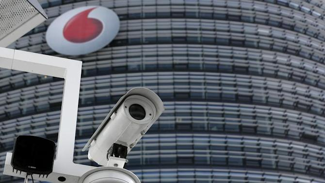 A surveillance camera is pictured in front of the headquarters of Vodafone Germany in Duesseldorf