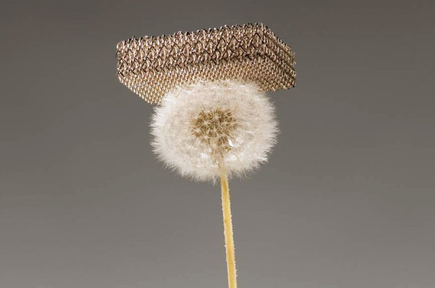 "A metal developed by a team of researchers from University of California at Irvine, HRL Laboratories and the California Institute of Technology is pictured resting on a dandelion fluff without damaging it in this undated publicity photo released to Reuters on November 17, 2011. The metal, which is about 100 times lighter than styrofoam, is the world's lightest material, according to a press release by the team. Their findings will be published in the November 18, 2011 issue of ""Science"" journal. REUTERS/Dan Little/HRL Laboratories LLC/Handout (UNITED STATES - Tags: SCIENCE TECHNOLOGY) NO SALES. NO ARCHIVES. FOR EDITORIAL USE ONLY. NOT FOR SALE FOR MARKETING OR ADVERTISING CAMPAIGNS"