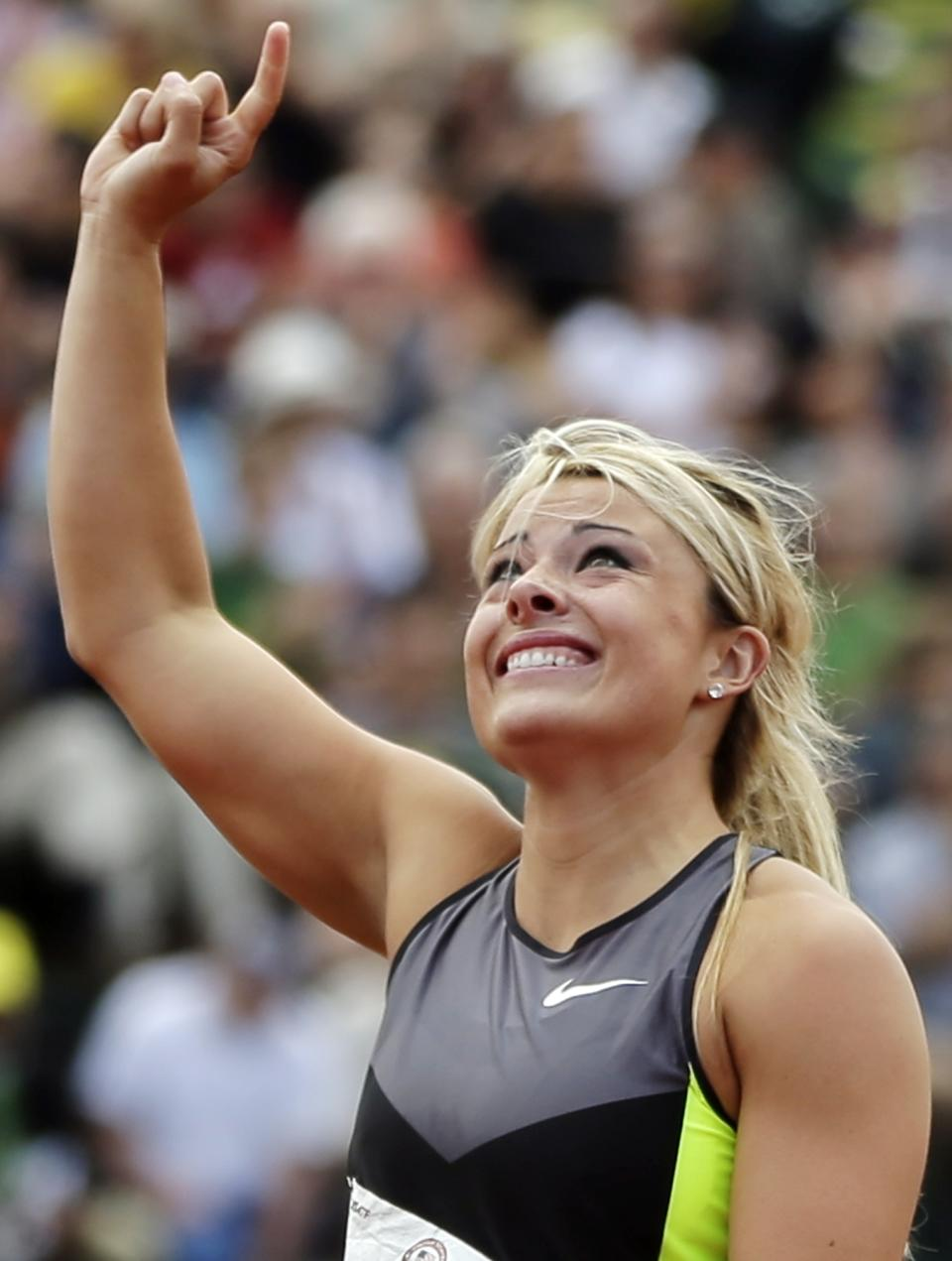 Brittany Borman celebrates making the Olympic team after competing in the women's javelin final at the U.S. Olympic Track and Field Trials Sunday, July 1, 2012, in Eugene, Ore. (AP Photo/Matt Slocum)