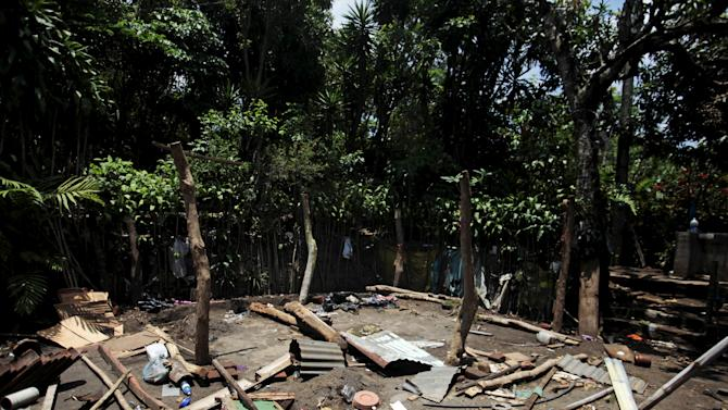 A dismantled house in seen as residents flee Tunalmiles village due to threats from the Mara Salvatrucha gang