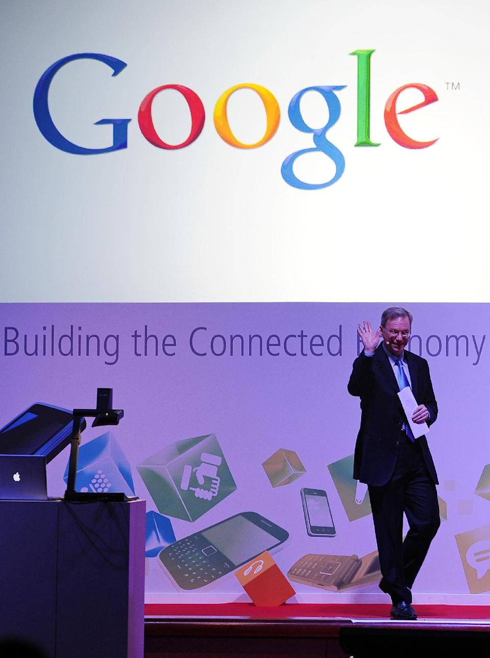 CEO of google Eric Schmidt during a conference at the Mobile World Congress, the world's largest mobile phone trade show, in Barcelona, Spain, Tuesday, Feb. 28, 2012. (AP Photo/Manu Fernandez)