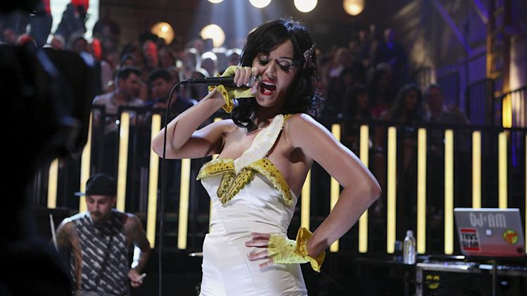 Singer Katy Perry on stage at the 2008 MTV Video Music Awards.