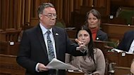 NDP MP Malcolm Allen takes part in a take-note debate on the massive recall of beef from an Alberta plant in the House of Commons Wednesday night in Ottawa.