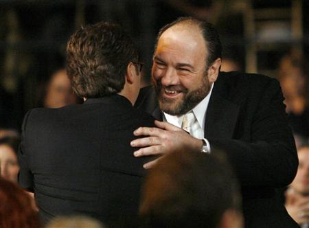 File photo of actor Gandolfini is congratulated for winning award for best male actor in drama series for The Sopranos at 14th annual Screen Actors Guild Awards in Los Angeles