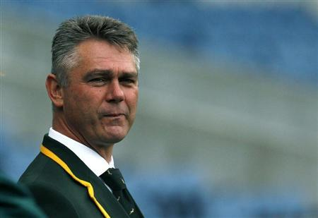 South Africa head coach Heyneke Meyer watches his players during their 'Captain's Run' training session, ahead of their Autumn Test rugby union match against Scotland, at Murrayfield Stadium in Edinbu