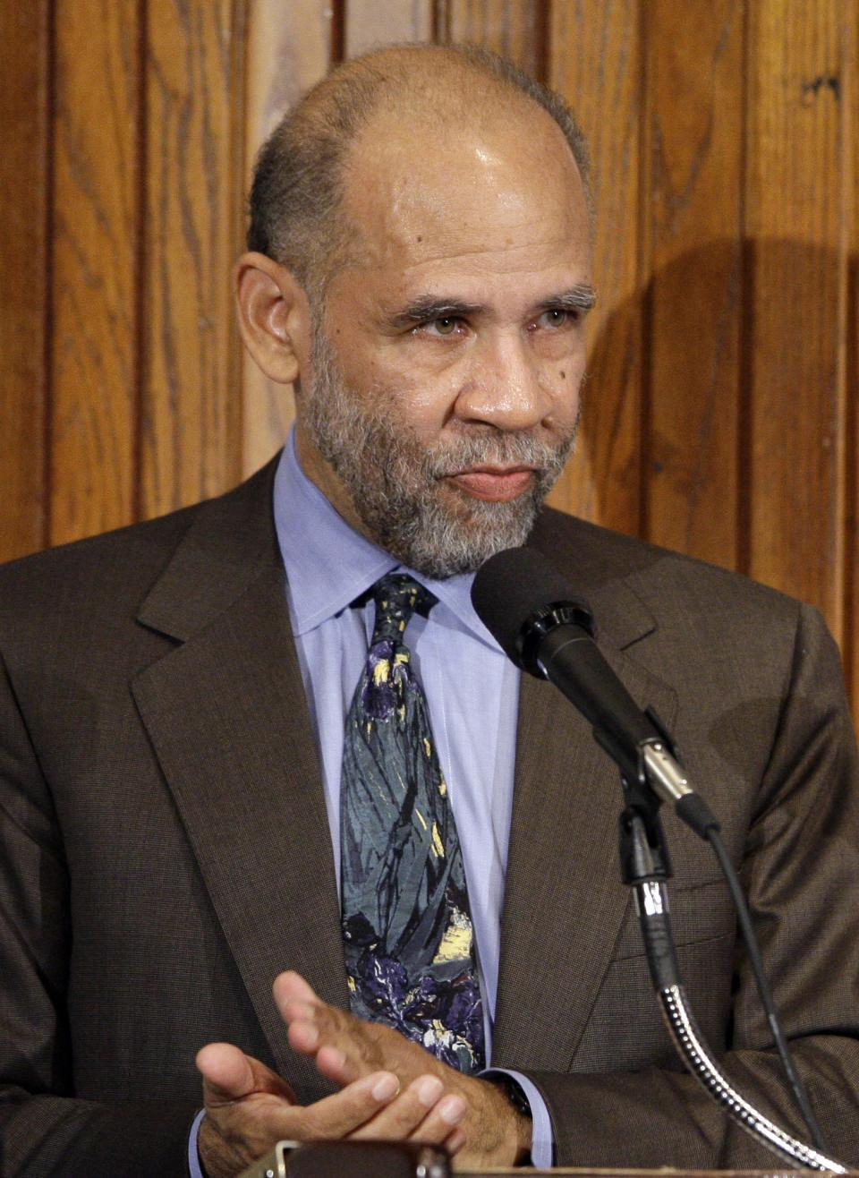 FILE - This file photo of May 13, 2009 shows NAACP Legal Defense Fund President and Director John Payton  during a NAACP Legal Defense and Educational Fund luncheon at the National Press Club in Washington. Payton died on Thursday, March 22, 2012 after a brief illness. He was 65.(AP Photo/Alex Brandon, File)