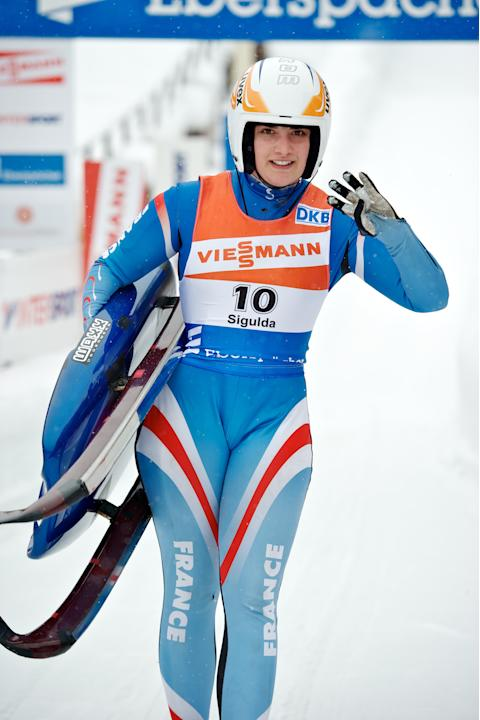 Morgane Bonnefoy of France comptes in the womens luge World Cup event in the Latvian town of Sigulda on February 19, 2012. AFP PHOTO /ILMARS ZNOTINS (Photo credit should read ILMARS ZNOTINS/AFP/Getty