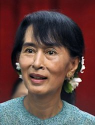 "The EU's chief diplomat urged Myanmar to make its progress towards democracy ""irreversible"" and called for an end to bloody ethnic conflict, after meeting Aung San Suu Kyi (pictured)"