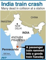 A map showing Penneconda in India where at least 25 people were killed and 36 injured when a passenger train slammed into a stationary goods train