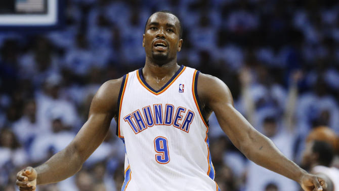 Oklahoma City Thunder forward Serge Ibaka reacts to missed shot during the first half of Game 5 of an NBA basketball playoffs Western Conference semifinal against the Memphis Grizzlies, in Oklahoma City, Wednesday, May 15, 2013. (AP Photo/Sue Ogrocki)