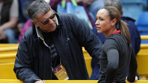 Jessica Ennis (R) talks with coach Toni Minichiello