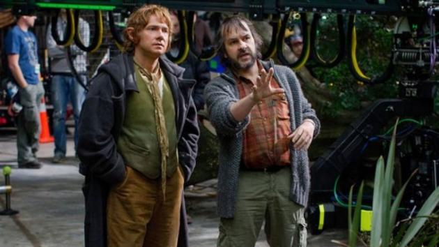 Martin Freeman and director Peter Jackson on the set of New Line Cinema's 'The Hobbit: An Unexpected Journey' -- New Line Cinema