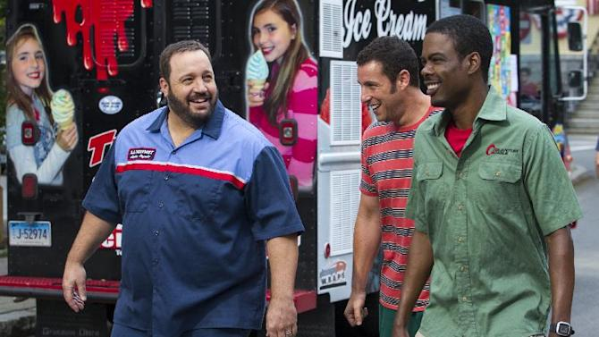 """This film publicity image released by Columbia Pictures shows, from left, Kevin James, Adam Sandler and Chris Rock in a scene from """"Grown Ups 2."""" (AP Photo/Sony - Columbia Pictures, Tracy Bennett)"""