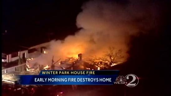 Flames rip through Winter Park home