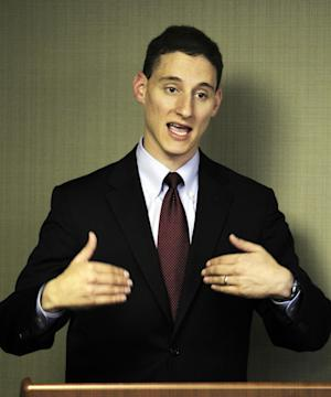 FILE - This Sept. 25, 2012, file photo shows Republican Josh Mandel speaking to supporters in Cleveland. The GOP candidate for Senate in Ohio, Mandel, drew murmurs of approval from southern Ohio Republicans during his discussion of budget and energy issues _ and plenty of laughs with his jokes about his boyish appearance. The 35-year-old Mandel, he looks 19, is a onetime city councilman, state legislator and Marine veteran of Iraq. His opponent is a 59-year-old populist Democrat, first-term Sen. Sherrod Brown.   (AP Photo/Tony Dejak, File)