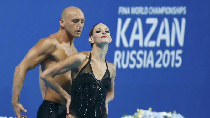 Beaufils and Dedieu of France perform during the synchonised swimming mixed duet free final  at Aquatics World Championships in Kazan