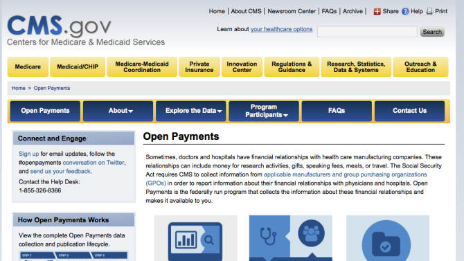 """This image provided by the Department of Health and Humans Services shows the Open Payments page of the Centers for Medicare & Medicaid Services. They're calling it """"Open Payments,"""" but the government's new website doesn't make it easy to find out whether your doctor is getting freebies, travel or other financial benefits from drug companies and medical device manufacturers. For now, the website lacks a """"Find Your Doctor"""" button.  (AP Photo/HHS)"""