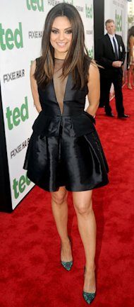 Mila Kunis goes for the deep V in Christian Dior LBD at Ted premiere