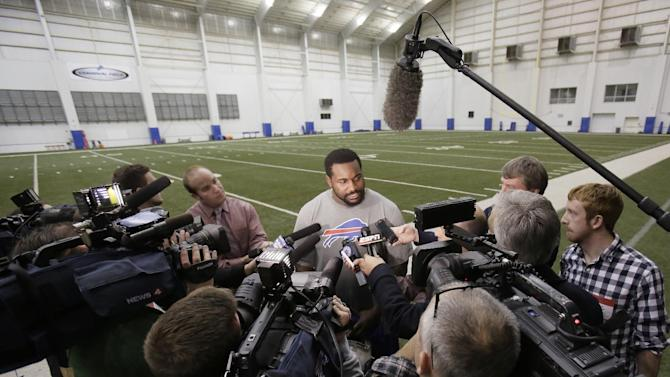Buffalo Bills defensive tackle Marcell Dareus speaks with the media after practice at the Detroit Lions' indoor NFL football training facility in Allen Park, Mich., Saturday, Nov. 22, 2014. The Bills are using the facility in preparation for Monday's game against the Jets, which was moved to Detroit because of the snowstorm in Buffalo