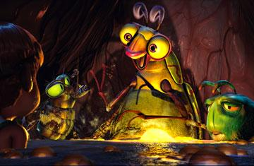 Fly (voiced by Mark DeCarlo ), Beetle (voiced by Rob Paulsen ) and Glow Worm (voiced by S. Scott Bullock ) in Warner Bros. Pictures' The Ant Bully