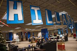 Volunteers work at the Hillary for Iowa Campaign Headquarters…