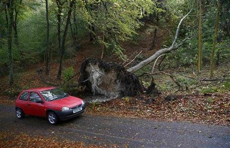 A car drives past an toppled tree in Chinnor in southern England
