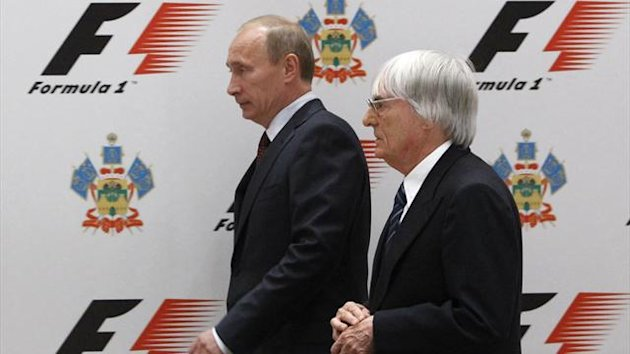 Russia's then Prime Minister Vladimir Putin (L) and Formula One commercial supremo Bernie Ecclestone attend a signing ceremony in Sochi (Reuters)