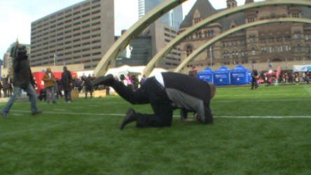 RAW: Rob Ford takes a fall