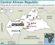 <p>Map of the CAR, locating rebel-held towns, including Kaga-Bandoro. More regional troops head to help secure the capital of the CAR in the face of a rebel advance, as France said it would not intervene in its former colony's conflict.</p>