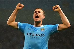 Manchester City 4-0 Aston Villa: Dzeko double puts Pellegrini's men on brink of title