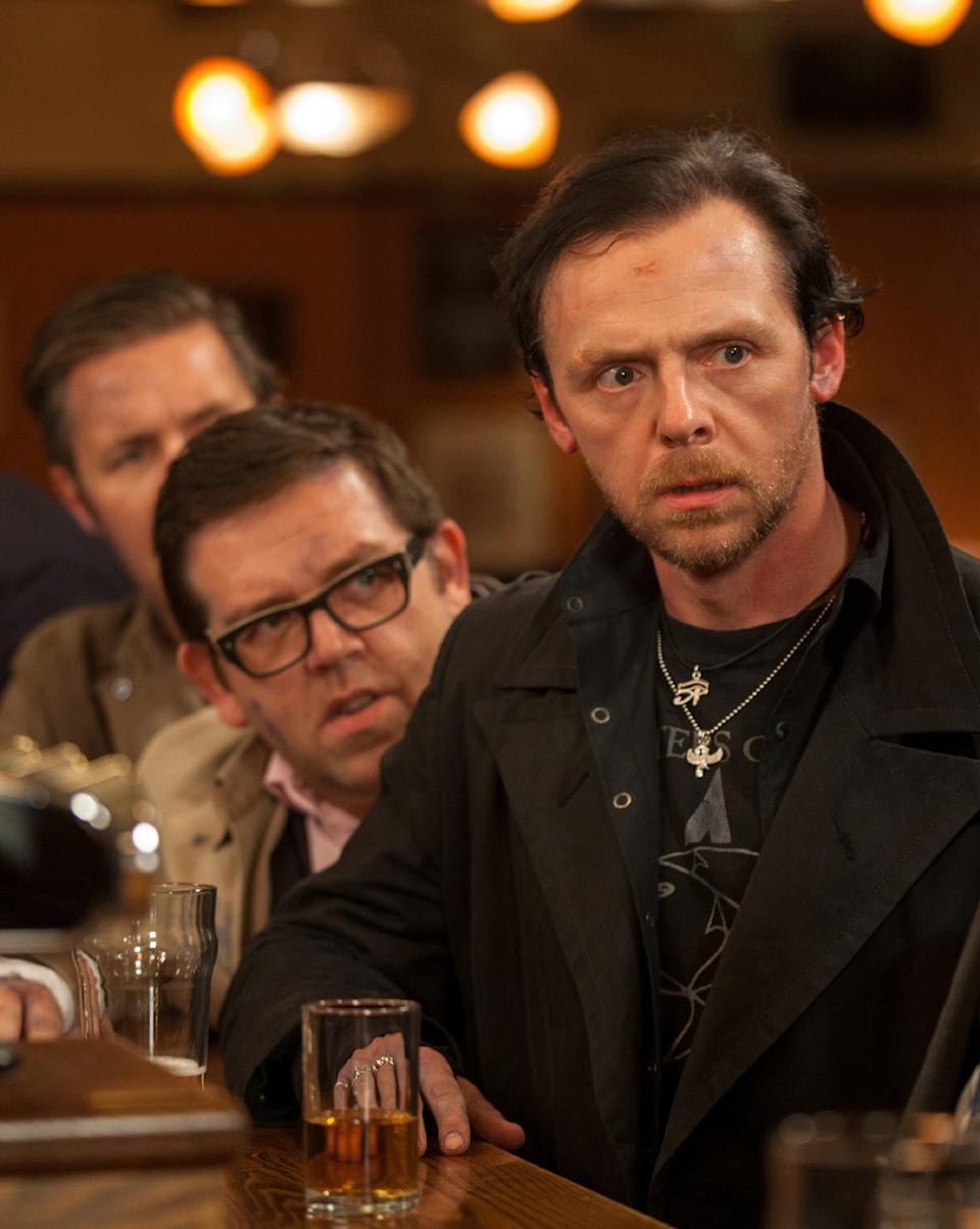 "This film publicity image released by Focus Features shows Simon Pegg, right, and Nick Frost in a scene from ""The World's End."" (AP Photo/Focus Features, Laurie Sparham)"