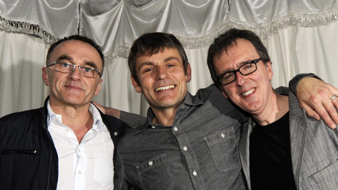 IMAGE DISTRIBUTED FOR FOX SEARCHLIGHT - Director Danny Boyle, left, poses with Rick Smith, right, and Darren Price, center, from The Underworld during the Fox Searchlight party for Trance at SXSW in Austin, Texas Saturday, March 9, 2013.  (Photo byJack Dempsey/Invision for Fox Searchlight/AP Images)