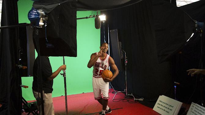 Chicago Bulls' Marquis Teague participates in a video shoot during their NBA basketball media day at the team's practice facility in Deerfield, Ill., Monday, Oct. 1, 2012. (AP Photo/Charles Cherney)