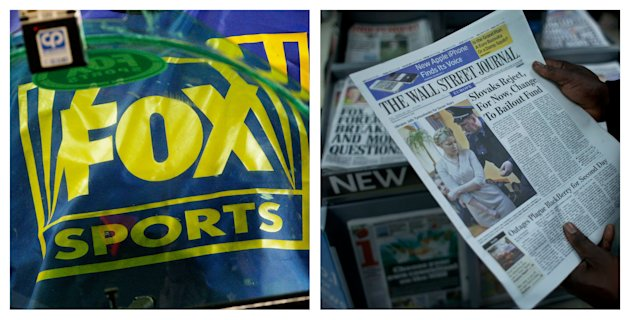 FILE- This combination of Associated Press file photos show a Fox Sports logo, left, and a person holding a copy of a Wall Street Journal, right. Rupert Murdoch&#39;s News Corp. said Thursday, June 28, 2012, that it plans to split into two separate companies, one holding its newspaper business and the other its entertainment operations. (AP Photo/Ross D. Franklin, Matt Dunham, File)