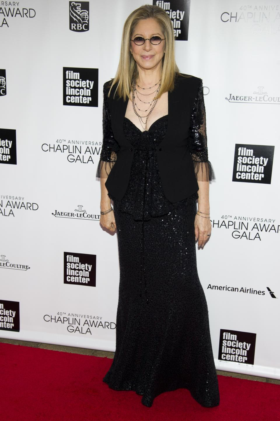 Honoree Barbra Streisand attends the Film Society of Lincoln Center's 40th Annual Chaplin Award Gala on Monday, April 22, 2013, in New York. (Photo by Charles Sykes/Invision/AP)