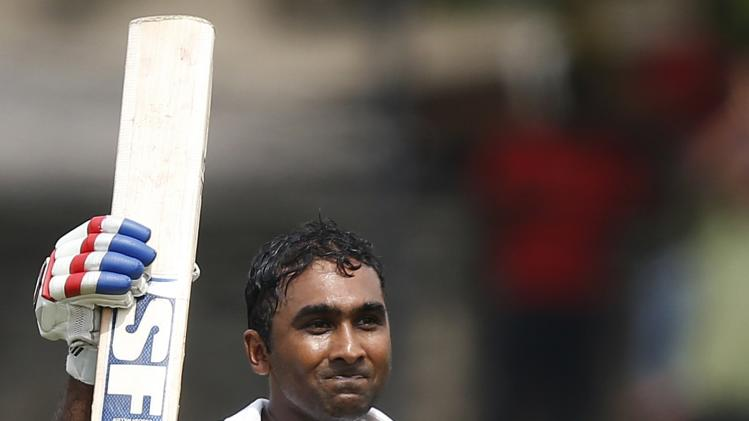 Sri Lanka's Jayawardene celebrates his century during the first day of their second test cricket match against South Africa in Colombo