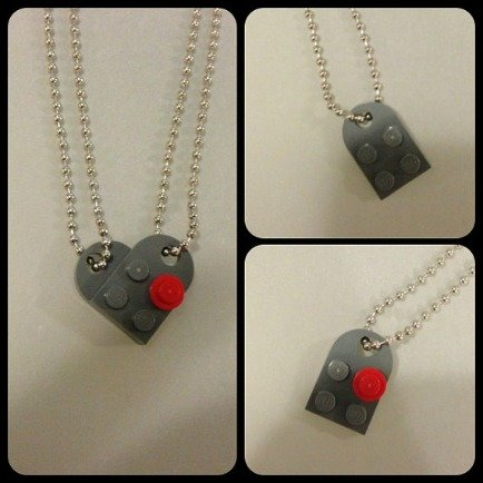Never LEGO of My Heart, His and Hers Lego Necklace