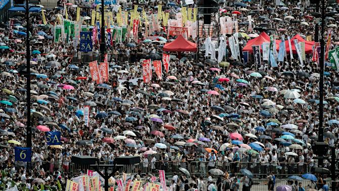 A pro-democracy rally in Hong Kong on July 1, 2014