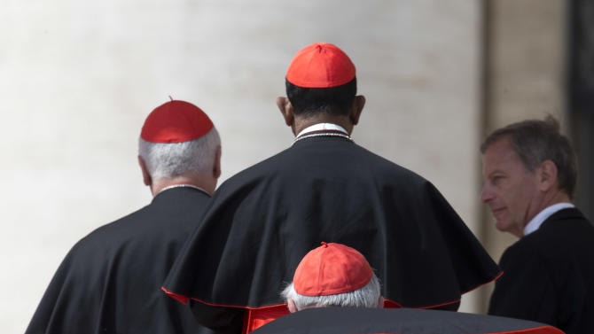 Cardinals line up to salute Pope Francis, not pictured, at the end of his weekly general audience in St. Peter's Square, at the Vatican, Wednesday, April 10, 2013. (AP Photo/Alessandra Tarantino)