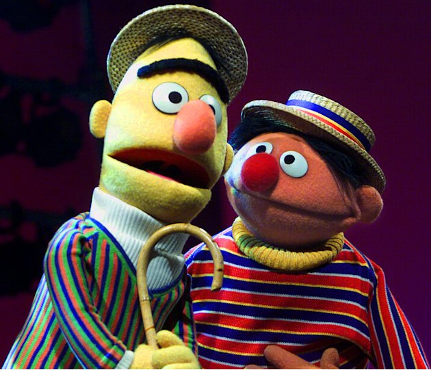 "FILE - In this Aug. 22, 2001 file photo, Muppets Bert, left, and Ernie, from the children's program ""Sesame Street,"" are shown in New York. Kermit the Frog, Miss Piggy, Bert and Ernie of ""Sesame Stree"