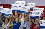 Supporters of Republican presidential candidate Mitt Romney await his arrival for a campaign rally at the NASCAR Technical Institute in Mooresville, North Carolina. Romney and his new runningmate Paul Ryan took a re-energized Republican presidential campaign to North Carolina Sunday, vowing to fix the US economy and restore American strength