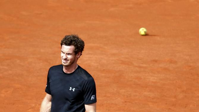 Andy Murray of Britain reacts during the men's singles match against Joao Sousa of Portugal at the French Open tennis tournament at the Roland Garros stadium in Paris