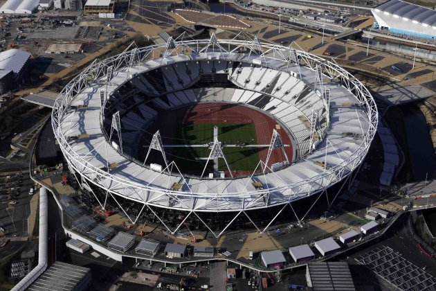 An aerial view shows the Olympic Stadium, at the Olympic Park in London