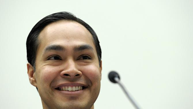 San Antonio, Texas Mayor Julian Castro testifies on Capitol Hill in Washington, Tuesday, Feb. 5, 2013, before the House Judiciary Committee hearing on America's Immigration System: Opportunities for Legal Immigration and Enforcement of Laws against Illegal Immigration.  (AP Photo/Susan Walsh)