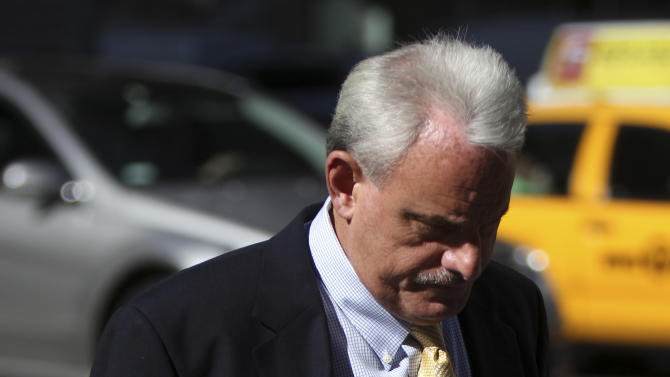 New Orleans Saints assistant coach Joe Vitt arrives for a meeting at NFL headquarters in New York, Thursday, April 5, 2012.  (AP Photo/Seth Wenig)