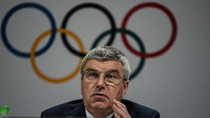 International Olympic Committee (IOC) chief Thomas Bach addresses a press briefing in Kuala Lumpur, on July 29, 2015